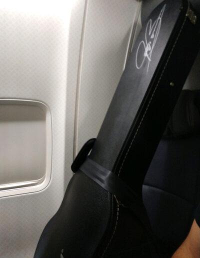 Jason Becker's Joe Bonamassa guitar on the flight to its new owners